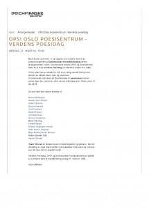 OPS! Oslo Poesisentrum - Verdens poesidag _ Deichmanske bibliotek